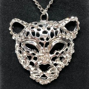 Open Work Silver 3D Tiger Pendant Necklace